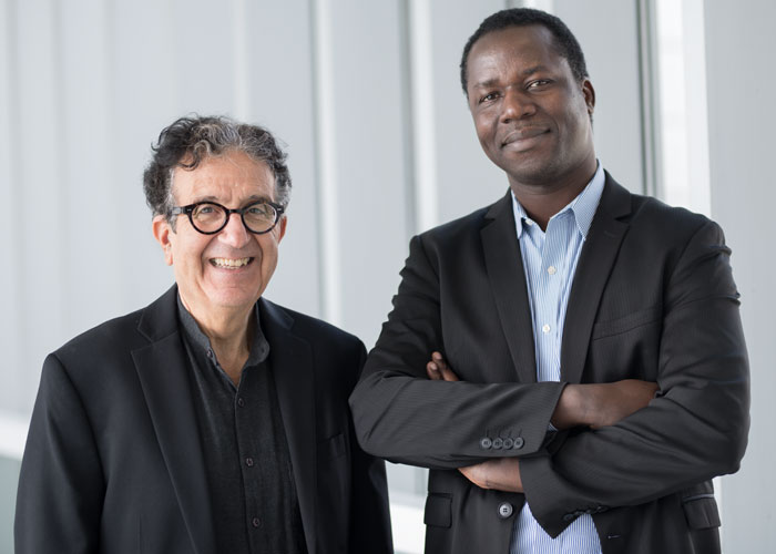 (From left to right) Professor Taïeb Hafsi and PhD student Saouré Kouamé