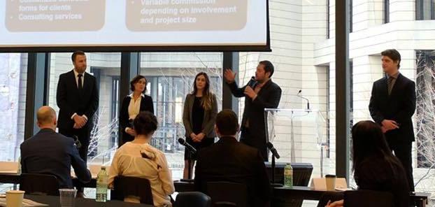 L'équipe de HEC Montréal, composée de Loic Angot, Simon Boisjoly, Carolina Marcucci, Laura Rubio et Hadrien Seymour-Provencher, a proposé une solution d'affaires pour lier les propriétaires de grandes tours et les consultants en efficacité énergétique.