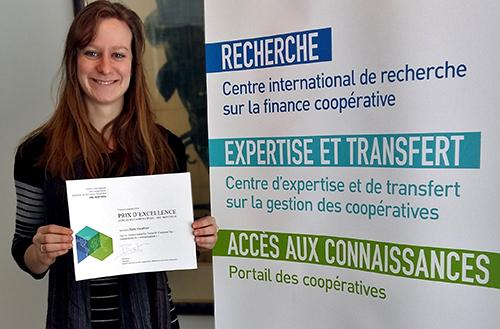 Anne Gauthier, étudiante à la M. Sc., remporte le Prix d'excellence de la première édition du concours