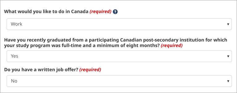 Que souhaiteriez-vous faire au Canada?