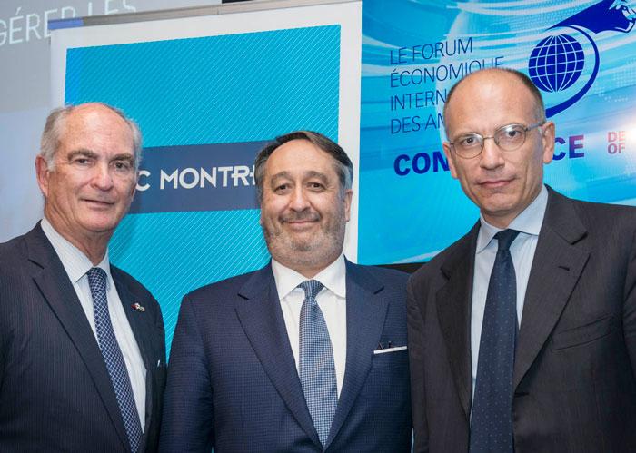 (De gauche à droite) Gil Rémillard, Michel Patry et Enrico Letta.